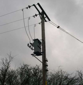 Three-phase 11 kV power lines look like this