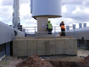 renewables first - lowering the turbine tower section