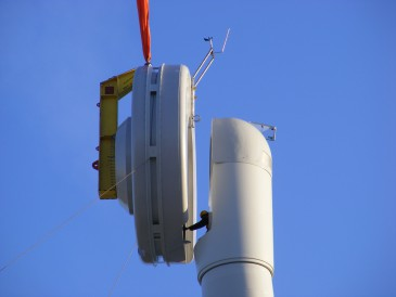 renewables first - lifting the wind turbine generator toward the nacelle.