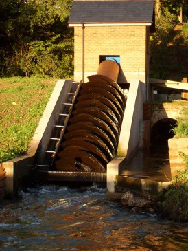 Renewables First: Micro hydro Archimedes screw turbine.